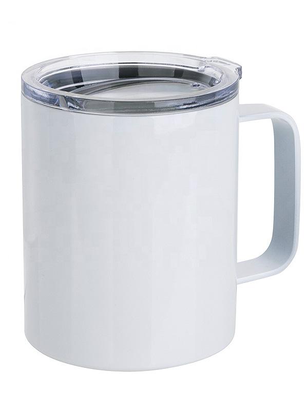 Bílý kovový hrnek s průhledným víčkem