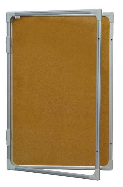 Vitrina s vertikálním otevíráním 90x60cm, korkový vnitřek, se zámkem